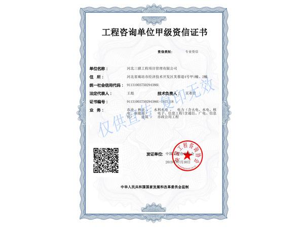工程乐动体育app无法登录单位甲级资信证书