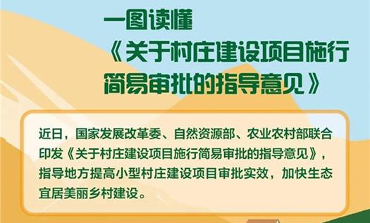 三部委联合印发《关于村庄建设项目施行简易审批的指导意见》, 加快生态宜居美丽乡村建设 !